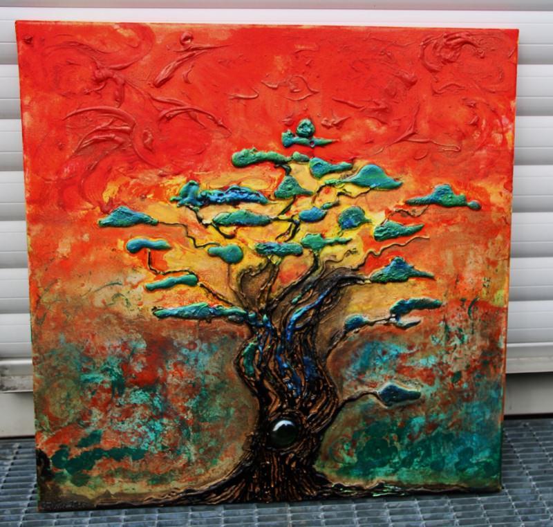 - Acrylbild Regenbogenbaum Acrylmalerei Baum Bonsai Bäumchen Landschaftsmalerei Gemälde  - Acrylbild Regenbogenbaum Acrylmalerei Baum Bonsai Bäumchen Landschaftsmalerei Gemälde