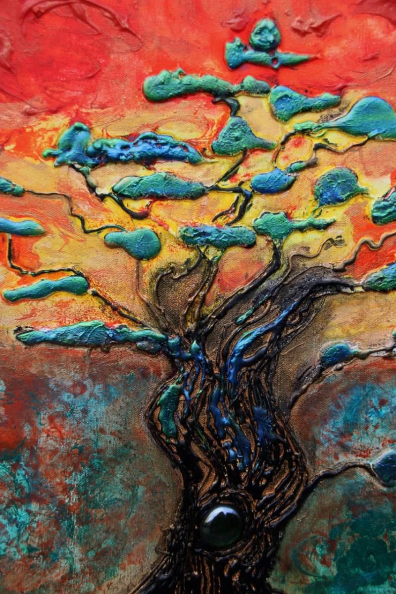 Kleinesbild - Acrylbild Regenbogenbaum Acrylmalerei Baum Bonsai Bäumchen Landschaftsmalerei Gemälde
