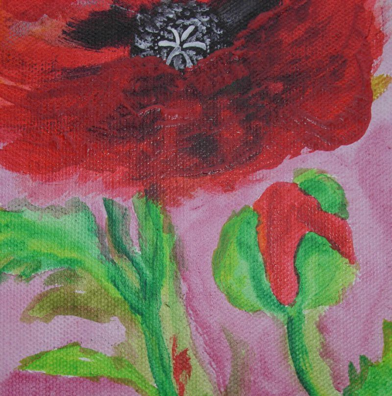 Kleinesbild - Acrylbild MOHNBLUME Acrylmalerei Gemälde abstrakte Kunst Wanddekoration Blütenbild Blumenbild