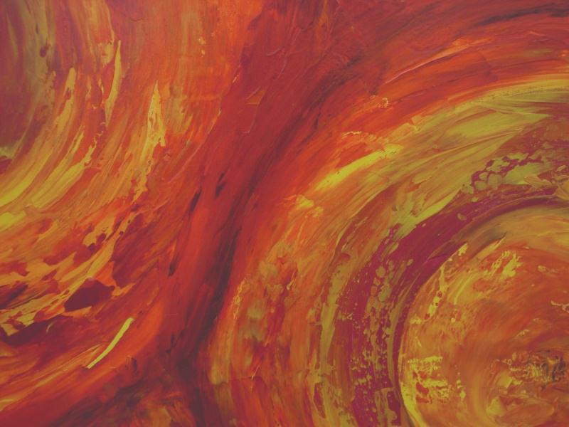 Kleinesbild - Acrylbild FEUERKREISE Malerei Gemälde Acrylgemälde rotes Bild Handgemalt Unikat abstrakte Malerei