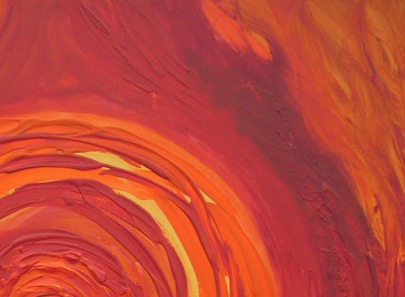 Kleinesbild - Acrylbild FEUERBALL Malerei Gemälde Acrylgemälde rotes Bild Handgemalt Unikat abstrakte Malerei
