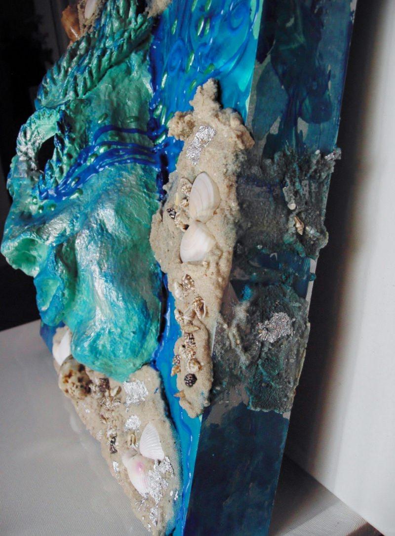 Kleinesbild - Acrylbild NEPTUNS TRÄNEN Collage Malerei Gemälde Acrylgemälde türkisfarbenes Bild Handgemalt Unikat abstrakte Gestaltung Handarbeit Handgefertigt