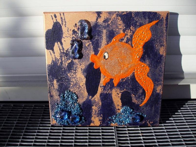 Kleinesbild - Acrylbild ORANGENFISCH Acrylmalerei Kinderzimmerbild Kunst Malerei Gemälde auf Leinwand Handarbeit Geschenk zur Geburt  Fisch Tierbild naive Malerei