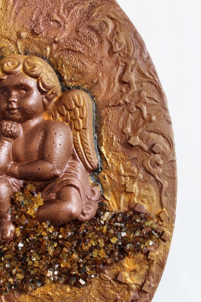 Kleinesbild - Acrylbild DER NACHDENKLICHE Engel aus Beton Valentinstag Geschenk Muttertag Acrylbild Collage Bild auf Keilrahmen Engelsbild
