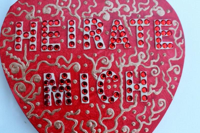 Kleinesbild - Acrylbild HEIRATE MICH Herz Valentinstag GeschenkHeiratsantrag Collage Herzbild auf Keilrahmen  Sprüche Liebeserklärung Geschenk für Verliebte Verlobung