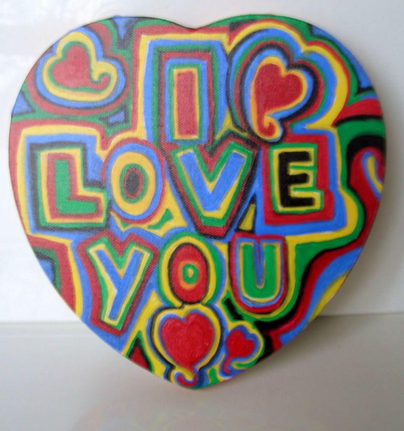 Kunst Acrylbild Graffiti Herz Valentinstag Geschenk Muttertag