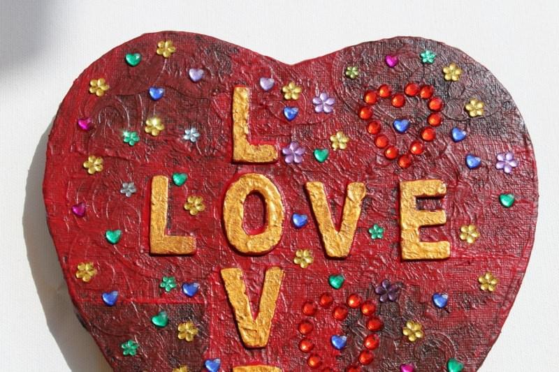 Kleinesbild -  Herzbild LOVE LOVE Valentinstag Geschenk Muttertag Acrylbild Collage Bild auf Keilrahmen Herz Liebeserklärung