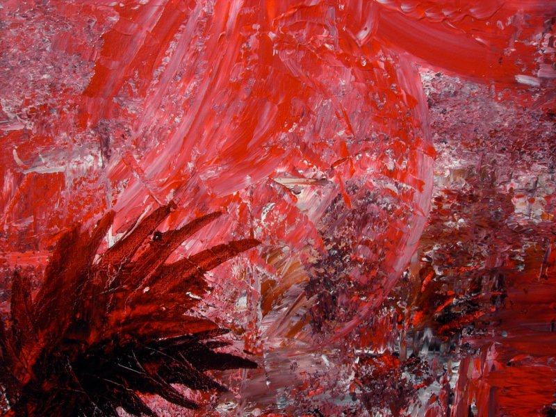 Kleinesbild - Acrylbild IM ROTEN FARNWALD Acrylmalerei Gemälde Wanddeko abstrakte Kunst Malerei  abstraktes Bild rotes Gemälde