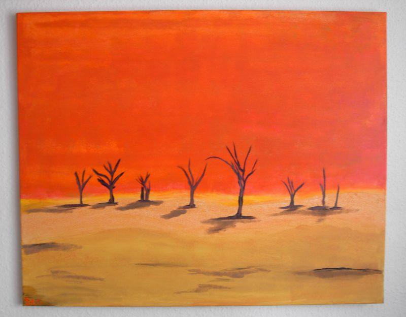 Kleinesbild - Acrylbild NAMIB Acrylmalerei Gemälde Wanddeko abstrakte Kunst naive Malerei  Wüste oranges Gemälde Landschaft