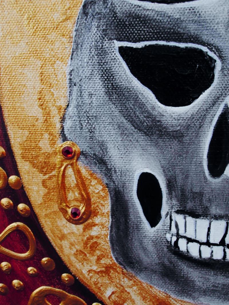 Kleinesbild - Acrylbild STEAMPUNK GRANNY Acrylmalerei Gemälde abstrakte Malerei Wanddekoration Bild  Kunst direkt vom Künstler Malerei Totenkopf Skull TotenkopfGothic Steampunk Totenschädel