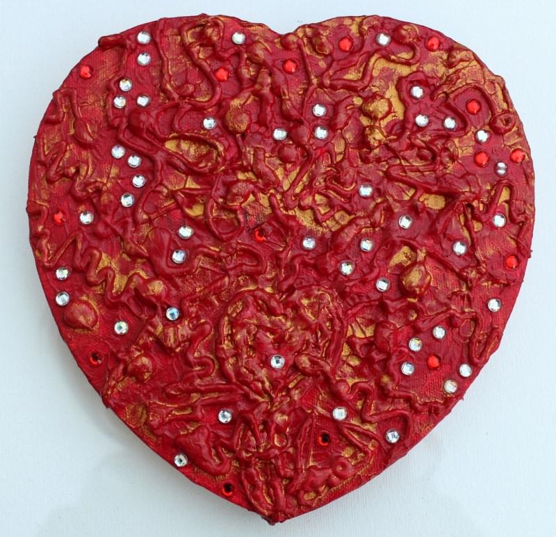 Kleinesbild - Acrylbild ROTES GLITZERHERZ  Herz Herzbild Valentinstag Geschenk Muttertag Acrylbild Collage Bild auf herzförmigem Keilrahmen