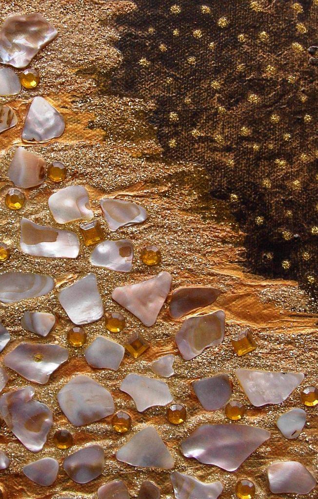 Kleinesbild - Acrylbild GOLDENE NACHT Acrylmalerei Gemälde abstrakte Malerei  Collage ovales Gemälde Geschenk Kunst Handarbeit  Osterdeko