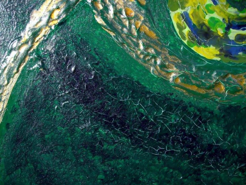 Kleinesbild - Acrylbild GOLDEN EYE Acrylmalerei Gemälde abstrakte Kunst Wanddekoration  Bild Malerei moderne Kunst grünes Gemälde