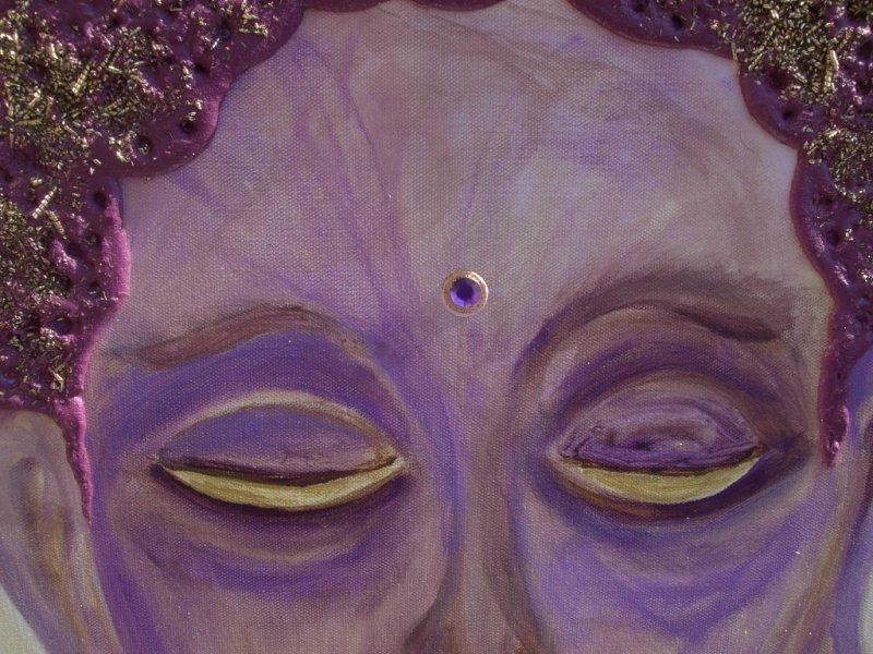 Kleinesbild - Acrylbild ERWACHENDER BUDDHA Acrylmalerei Gemälde Wanddeko abstrakte Kunst Malerei  abstraktes Bild lila Gemälde purpur asiatisch
