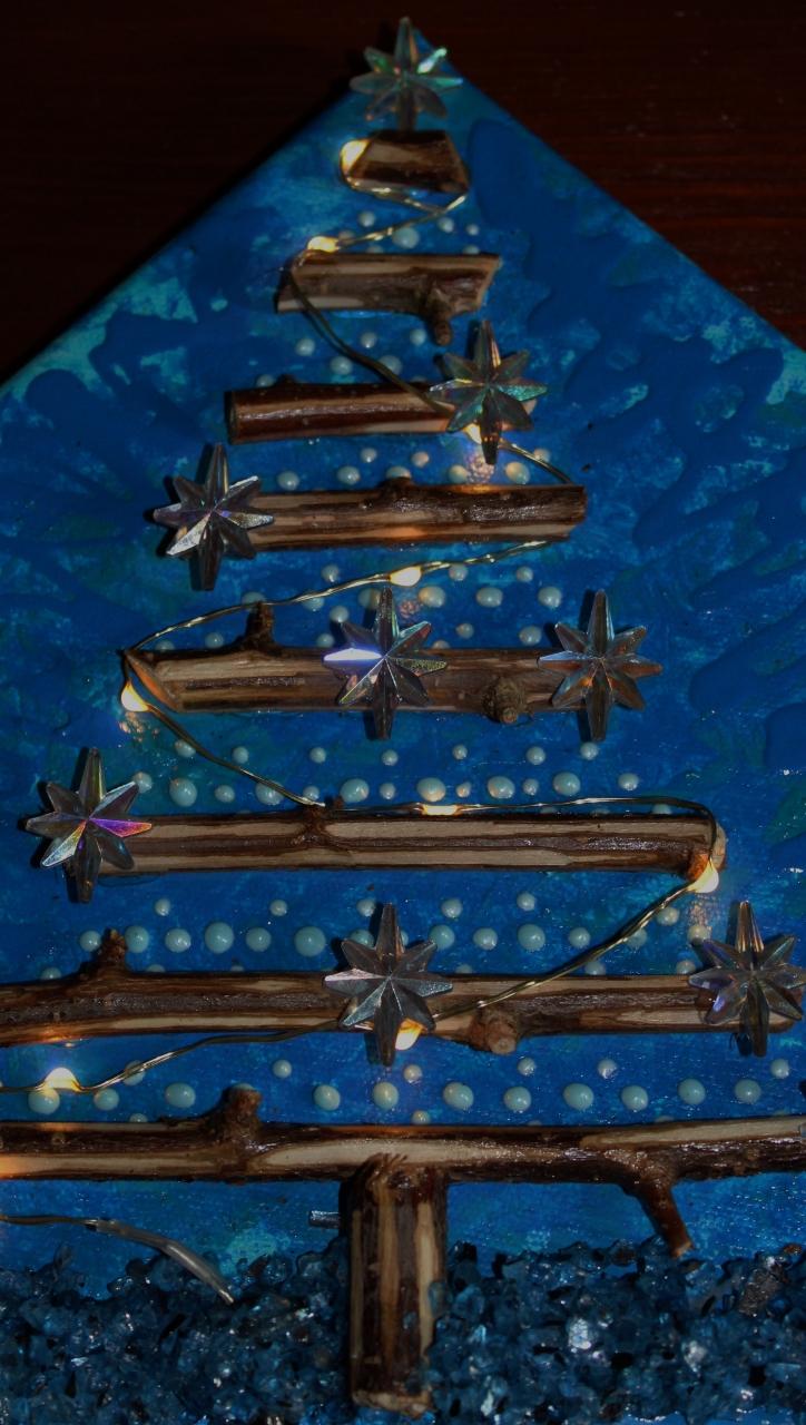 Kleinesbild - Wanddeko STERNENBAUM Weihnachtsbaum Weihnachtsdeko Wanddeko Christbaum Künstlerbaum mit LED-Beleuchtung