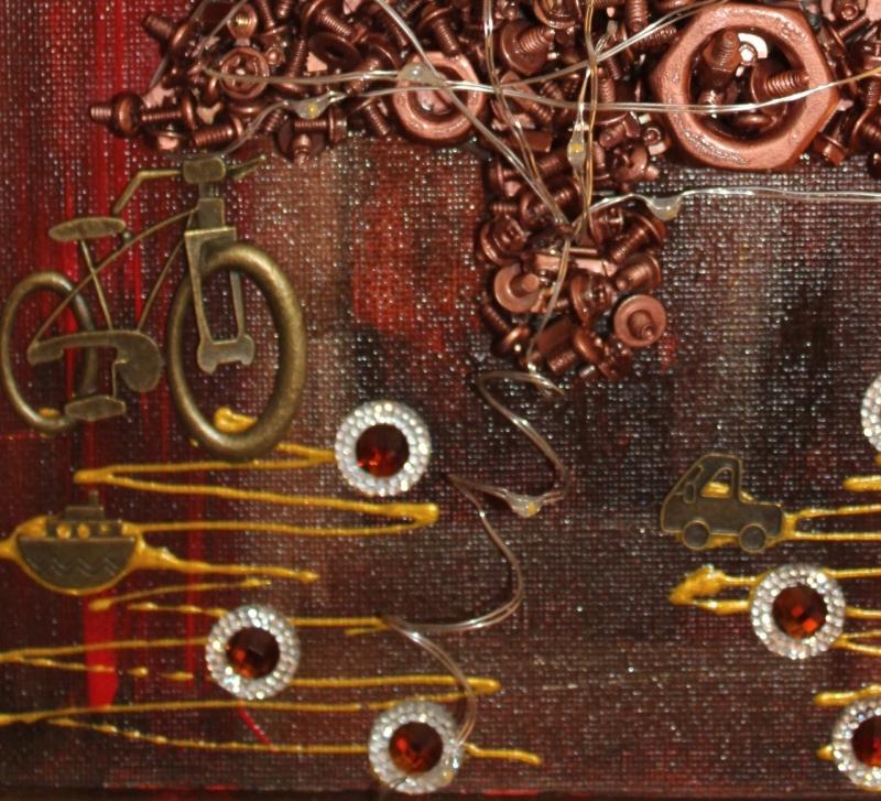 Kleinesbild - Wanddeko STEAMPUNK-CHRISTMAS Weihnachtsbaum Weihnachtsdeko Wanddeko Christbaum Künstlerbaum mit LED-Beleuchtung