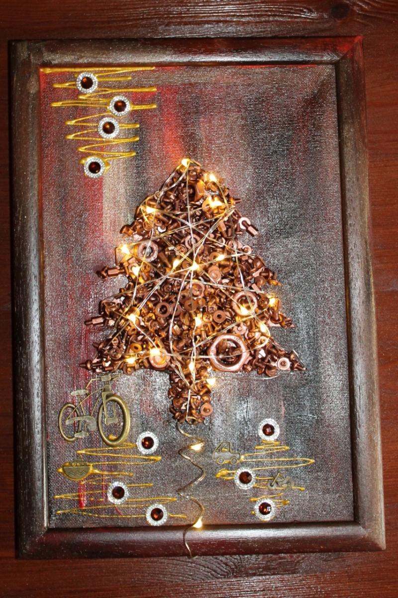 - Wanddeko STEAMPUNK-CHRISTMAS Weihnachtsbaum Weihnachtsdeko Wanddeko Christbaum Künstlerbaum mit LED-Beleuchtung  - Wanddeko STEAMPUNK-CHRISTMAS Weihnachtsbaum Weihnachtsdeko Wanddeko Christbaum Künstlerbaum mit LED-Beleuchtung