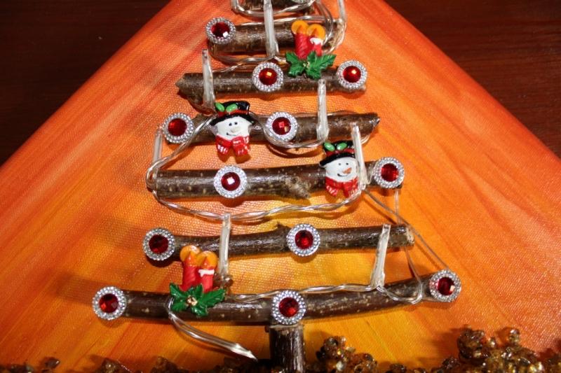 Kleinesbild - Wanddeko SCHNEEMANN-BAUM Weihnachtsbaum Weihnachtsdeko Wanddeko Christbaum Künstlerbaum mit LED-Beleuchtung