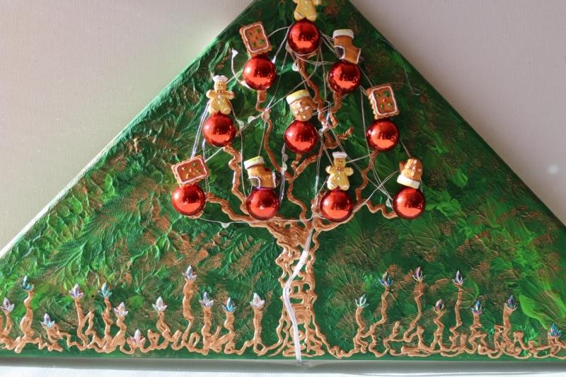 Kleinesbild - Wanddeko PFEFFERKUCHEN-BÄUMCHEN Weihnachtsbaum Weihnachtsdeko Wanddeko Christbaum Künstlerbaum mit LED-Beleuchtung