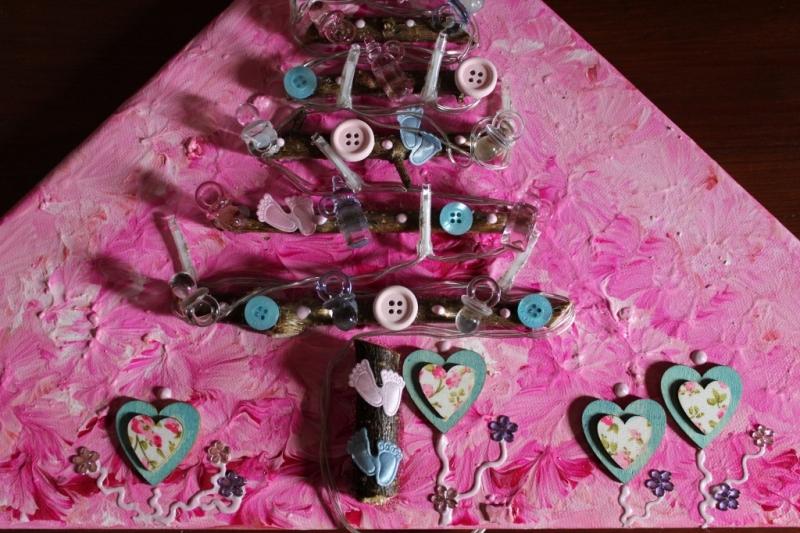 Kleinesbild - Wanddeko BABY-BAUM Weihnachtsbaum Weihnachtsdeko Wanddeko Christbaum Künstlerbaum mit LED-Beleuchtung