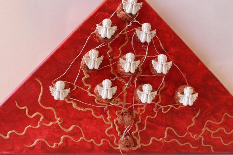 Kleinesbild - Wanddeko ENGELS-BÄUMCHEN Weihnachtsbaum Weihnachtsdeko Wanddeko Christbaum Künstlerbaum mit LED-Beleuchtung