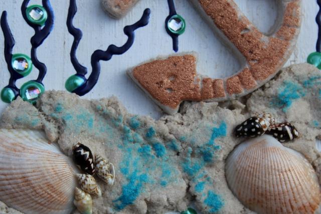 Kleinesbild - Collage UNTER WASSER Sandbild Maritime Deko Muschelbild Geschenk Muttertag Valentinstag  Shabby