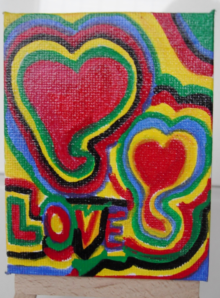 Kleinesbild - Acrylbild LOVE Acrylmalerei Herzbild abstrakte Malerei Minibild Keilrahmen Staffelei Muttertag Valentinstag