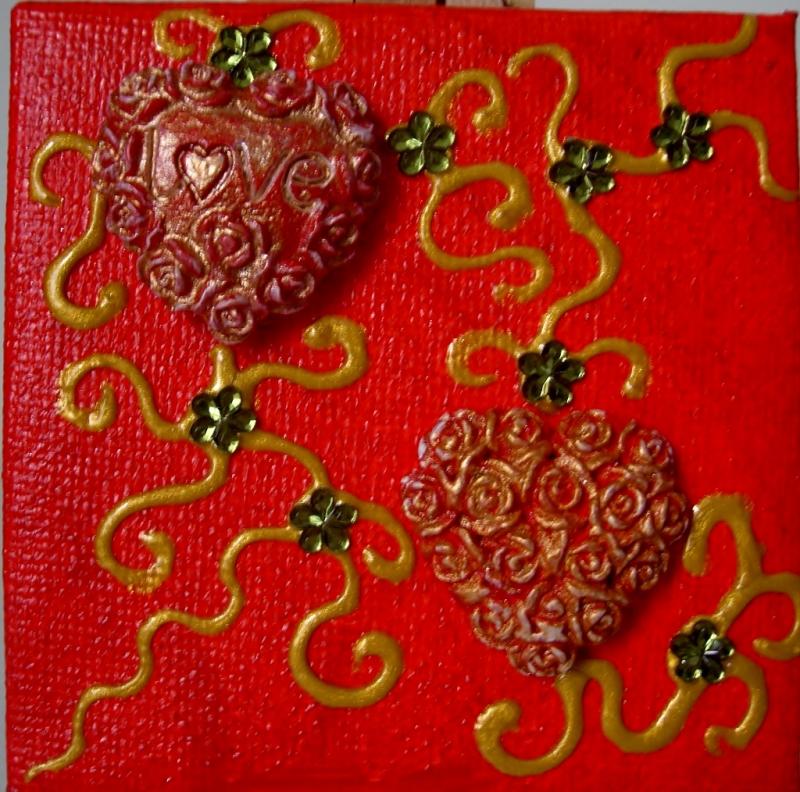 Kleinesbild - Collage LOVE Acrylmalerei Herzbild abstrakte Malerei Minibild Keilrahmen Staffelei Muttertag Valentinstag