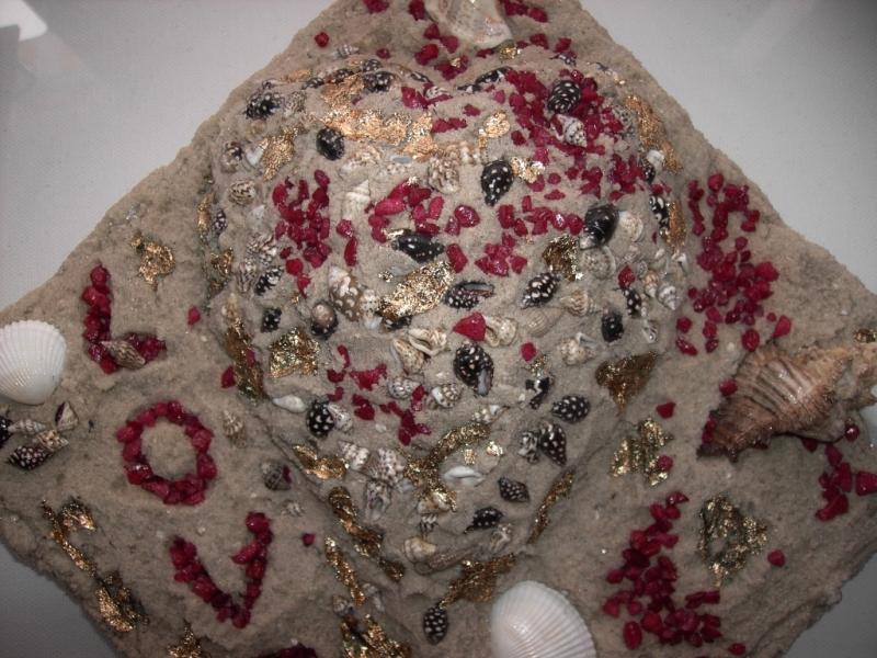 Kleinesbild - Muschelbild LOVE Collage Geschenk zu Valentinstag Muttertag Herz Herzbild Muscheln