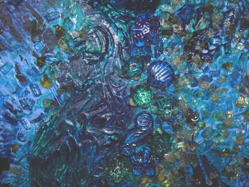 Kleinesbild - Acrylbild DEEP BLUE HEART Geschenk Valentinstag  Muttertag Malerei Kunst Unikat Keilrahmen Herzbild