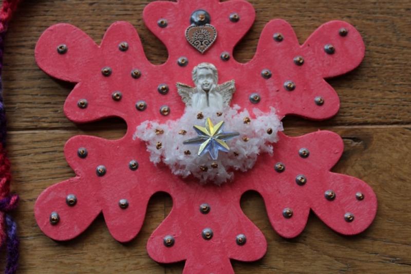 Kleinesbild - Collage Wandbild Schutzengel Engel Wanddeko Herbstdeko Schneeflocke Wandbild Wandhänger Türdeko Anhänger