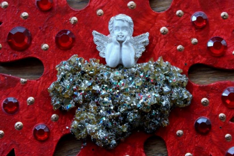 Kleinesbild - Collage ROTER ENGELSZAUBER Schutzengel Wanddeko Herbstdeko Schneeflocke Wandhänger Türdeko Anhänger Engel Handarbeit