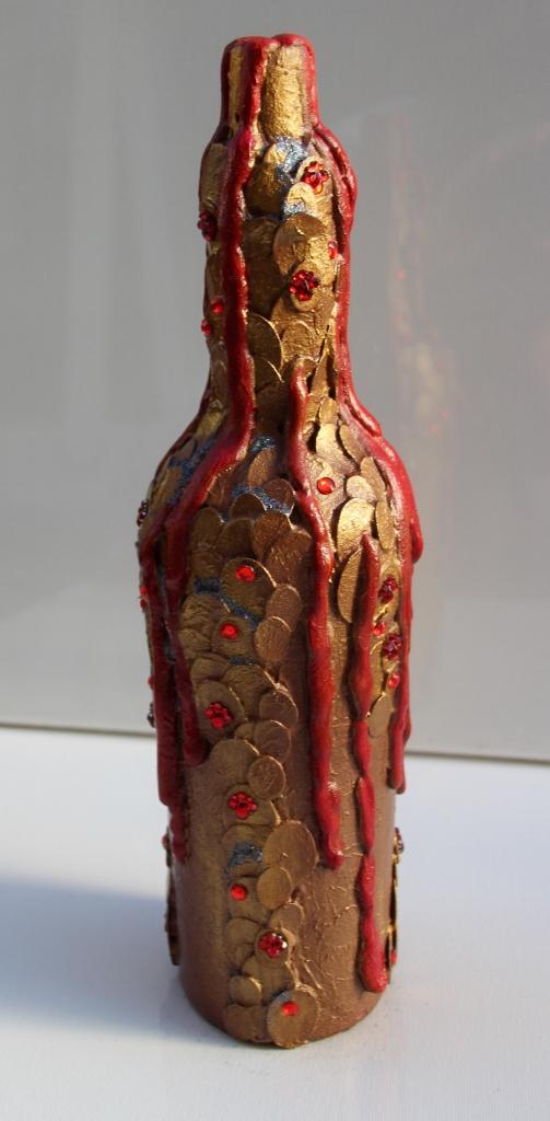Kleinesbild - Dekoflasche DRACHENBLUT Upcycling Flasche Flaschenkunst Dekoration Collage  Herbstdeko