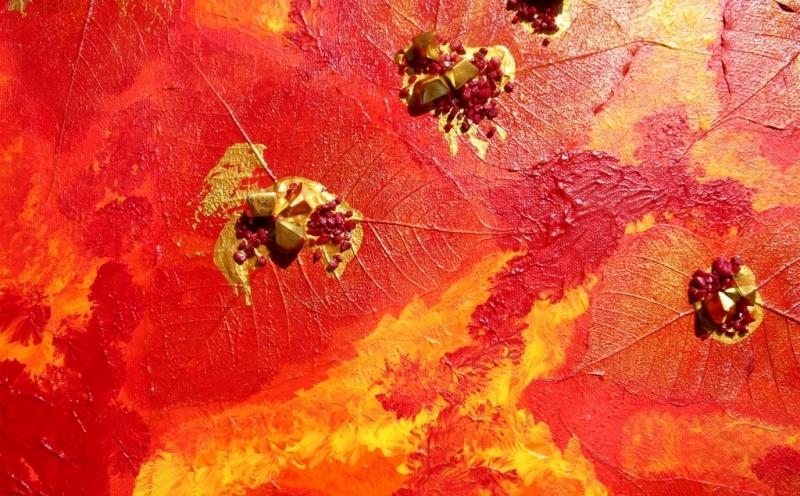 Kleinesbild - Acrylbild  HERBSTGOLD Gemälde Malerei Herbstfarben Geschenk rotes Bild abstrakte Kunst Acrylmalerei