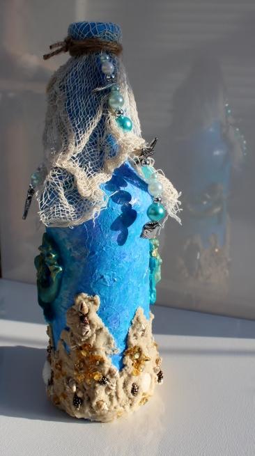 - Dekoflasche TANZ DER MEERJUNGFRAUEN Upcycling Flasche Flaschenkunst Dekoration Collage Maritime Deko - Dekoflasche TANZ DER MEERJUNGFRAUEN Upcycling Flasche Flaschenkunst Dekoration Collage Maritime Deko