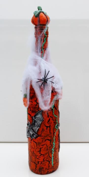 Kleinesbild - Dekoflasche HALLOWEEN Upcycling Flasche Flaschenkunst Dekoration Collage  Herbstdeko Halloweendeko
