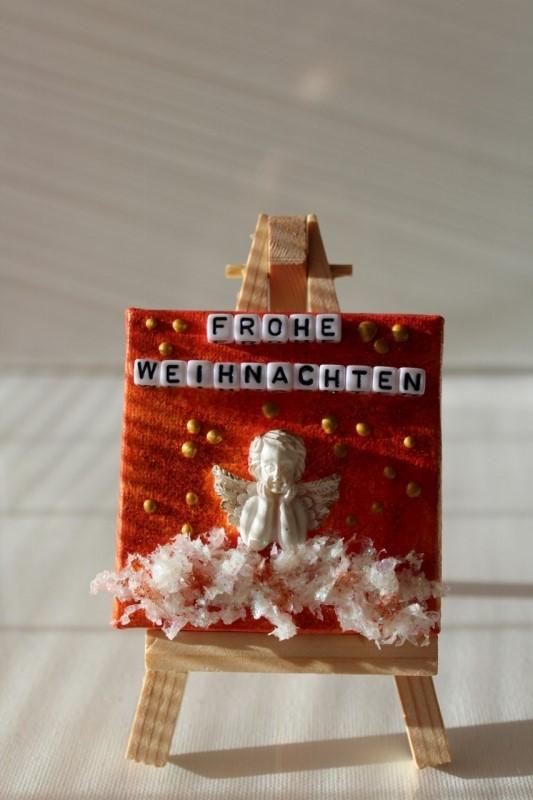 Kleinesbild - Minibild FROHE WEIHNACHTEN Engel Tischdeko Minibild Collage Deko Weihnachtsgeschenk  Adventskalenderfüllung