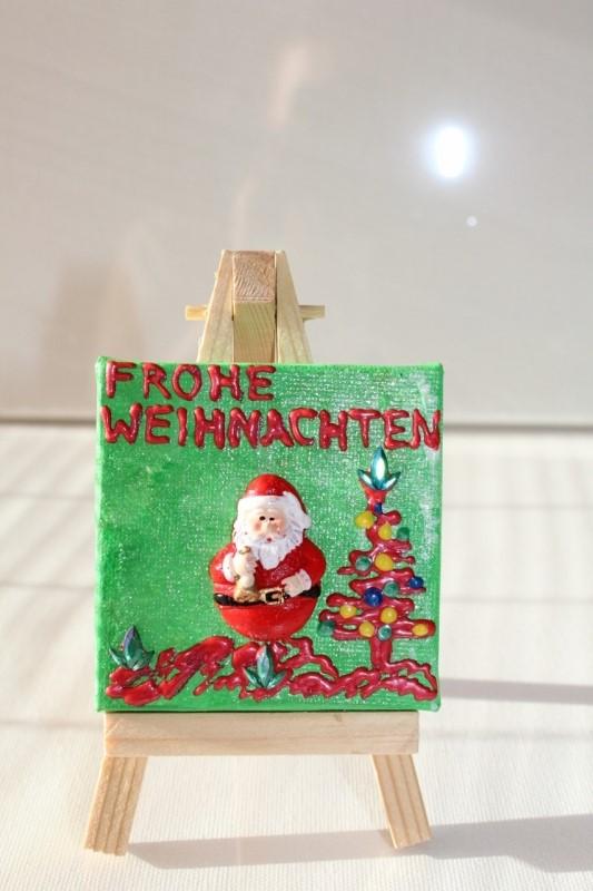 Kleinesbild - Minibild FROHE WEIHNACHTEN Nikolaus Tischdeko Minibild Collage Deko Weihnachtsgeschenk  Adventskalenderfüllung Weihnachtsmann