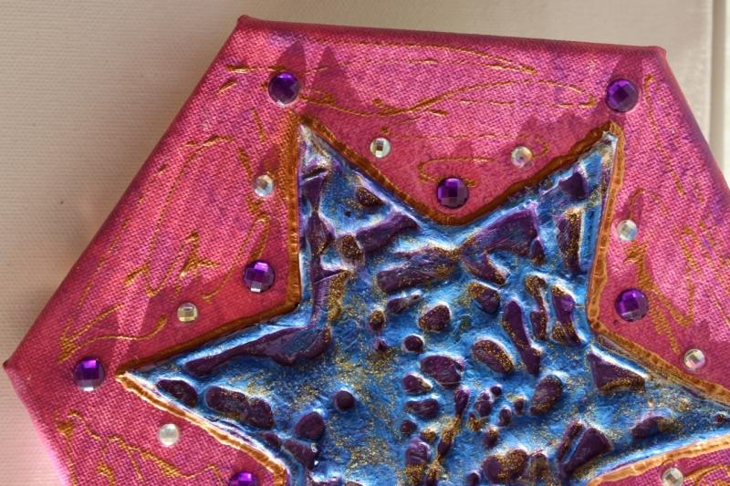 Kleinesbild - Collage Acrylbild PINK STERN Acrylmalerei Deko Weihnachtsgeschenk Stern Malerei Weihnachtsdeko
