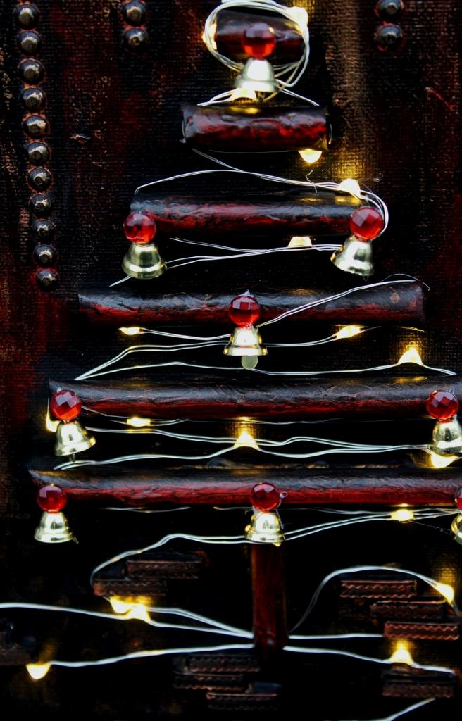 Kleinesbild - Wanddeko INDUSTRIAL-CHRISTMAS Weihnachtsbaum Weihnachtsdeko Wanddeko Christbaum Künstlerbaum mit LED-Beleuchtung