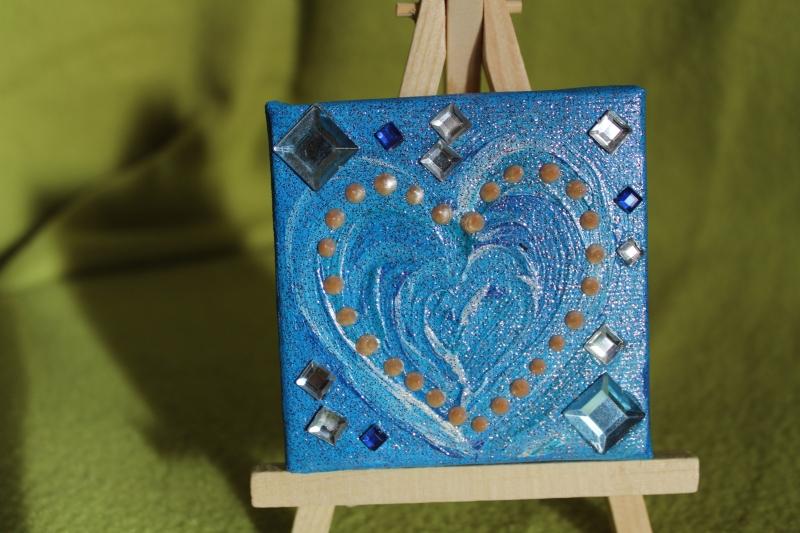 Kleinesbild - Minibild ZARTBLAUES HERZ  Acrylmalerei Keilrahmen Staffelei Geschenk zu Muttertag Valentinstag für Verliebte
