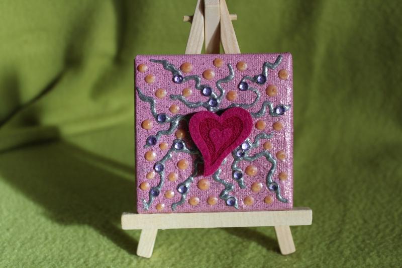 Kleinesbild - Minibild FILZHERZERL  Acrylmalerei Keilrahmen Staffelei Geschenk zu Muttertag Valentinstag für Verliebte