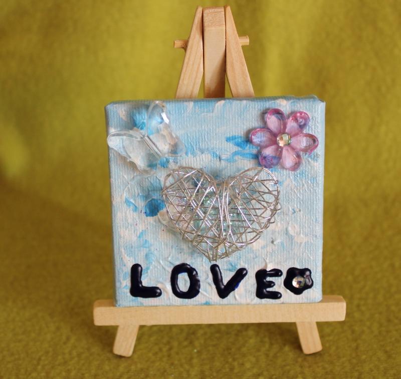 - Minibild LOVE  Acrylmalerei Keilrahmen Staffelei Geschenk zu Muttertag Valentinstag für Verliebte  - Minibild LOVE  Acrylmalerei Keilrahmen Staffelei Geschenk zu Muttertag Valentinstag für Verliebte
