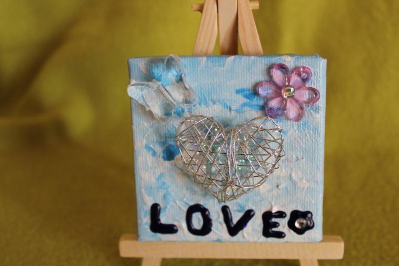 Kleinesbild - Minibild LOVE  Acrylmalerei Keilrahmen Staffelei Geschenk zu Muttertag Valentinstag für Verliebte