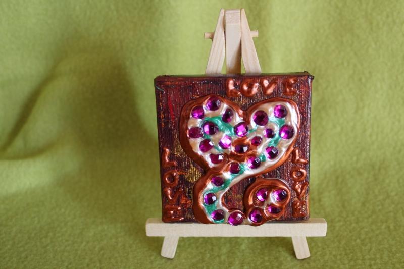 Kleinesbild - Minibild LOVE LOVE LOVE Acrylmalerei Keilrahmen Staffelei Geschenk zu Muttertag Valentinstag für Verliebte