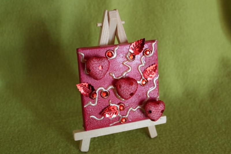 Kleinesbild - Minibild DREI HERZERL Acrylmalerei Keilrahmen Staffelei Geschenk zu Muttertag Valentinstag für Verliebte