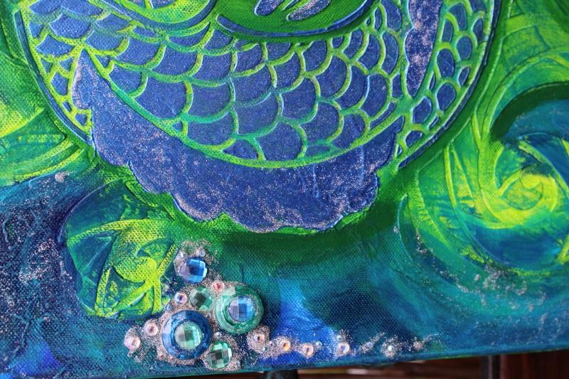 Kleinesbild - Acrylbild BLAUER KOI Acrylmalerei Kunst Deko Geschenk abstrakte Malerei abstrakte Kunst Schablonentechnik Mixed Media