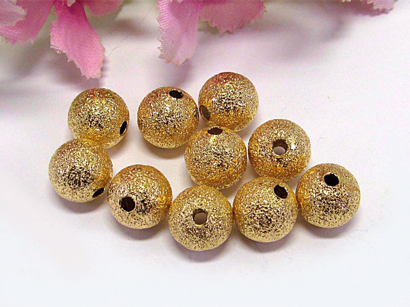 - 30 Stardust Metallperlen, 8mm Durchmesser, Farbe gold - 30 Stardust Metallperlen, 8mm Durchmesser, Farbe gold