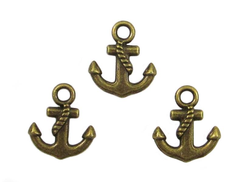 Kleinesbild - 100 Anker Anhänger / Charm, Farbe bronze