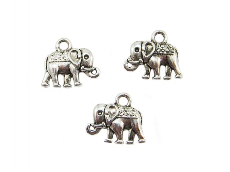 - 10 Elefant Anhänger / Charm, Farbe silber antik - 10 Elefant Anhänger / Charm, Farbe silber antik